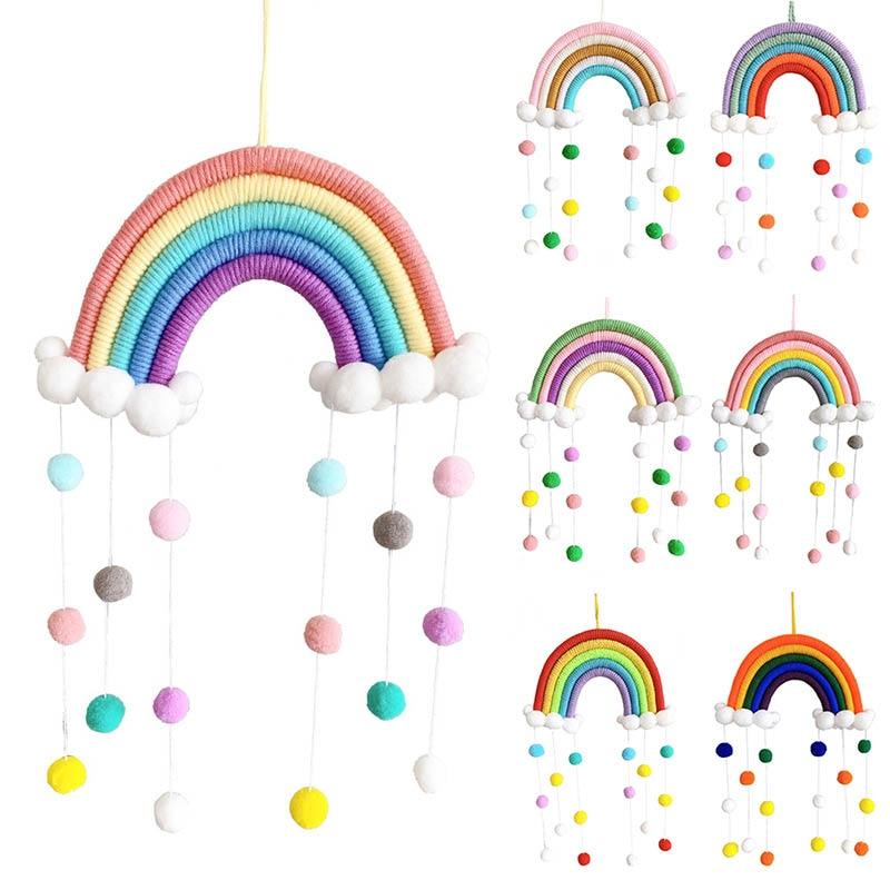 1Pcs Cute Cartoon Rainbow Cloud Hand Woven Decoration with Felt Ball Creative Nordic Style Wool/Cotton Rainbow Photography Props