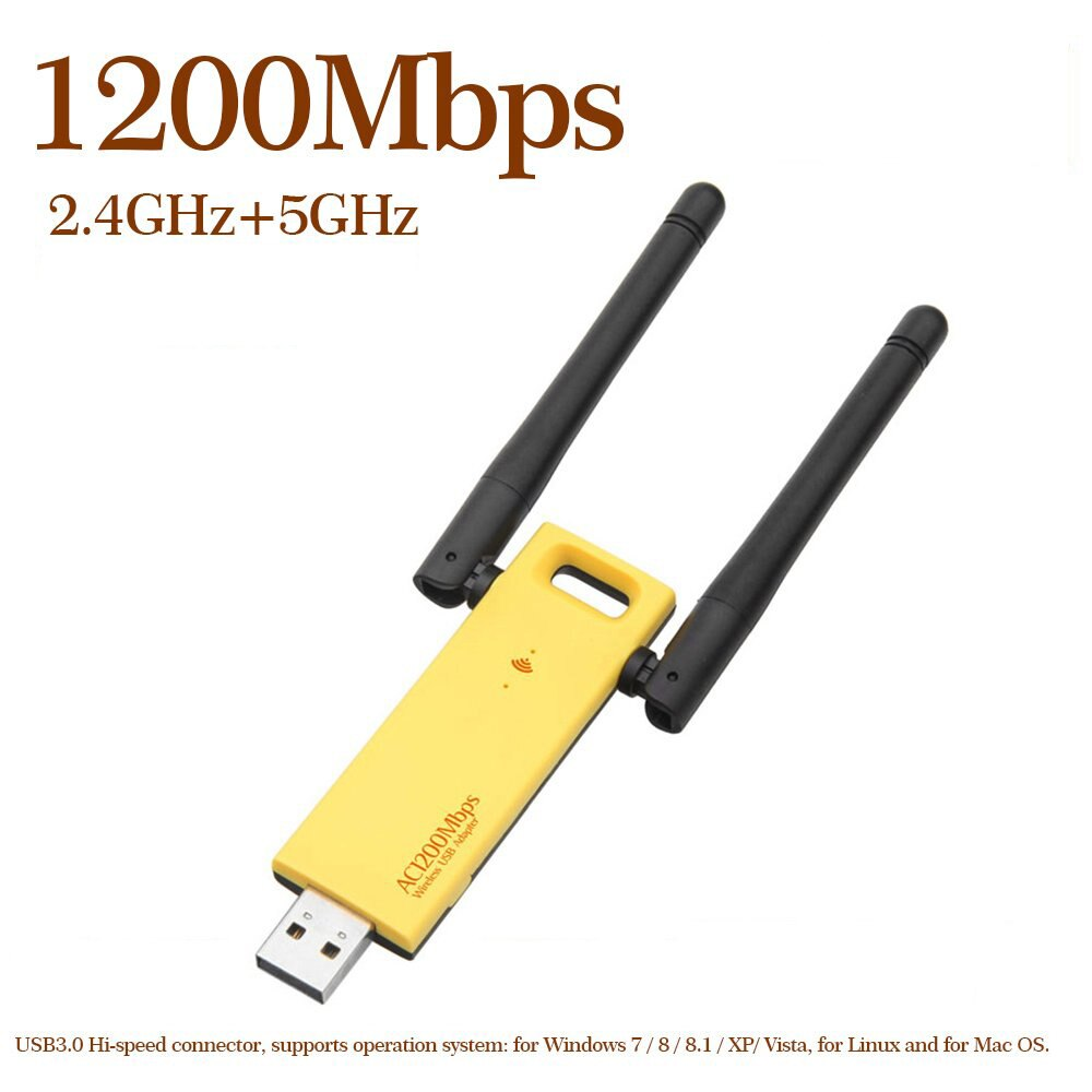 Adaptador WiFi USB 1200 de doble banda, 3,0 Mbps, 2,4G, 5G, AC1200,...