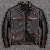 locomotive 2021 brand cowhide vintage thick genuine leather zipper coat male autumn winter slim fit jacket