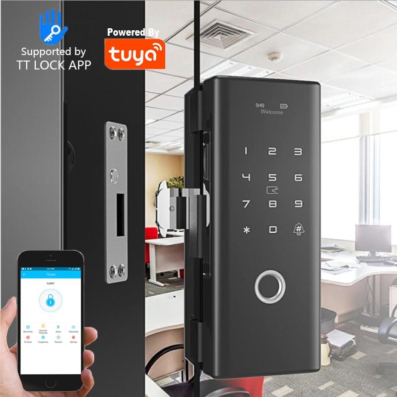 Promo TUYA lock Wifi Fingerprint card glass door lock Push Pull Smart Door Lock for Glass Sliding door Wooden Home Outdoor Gate door