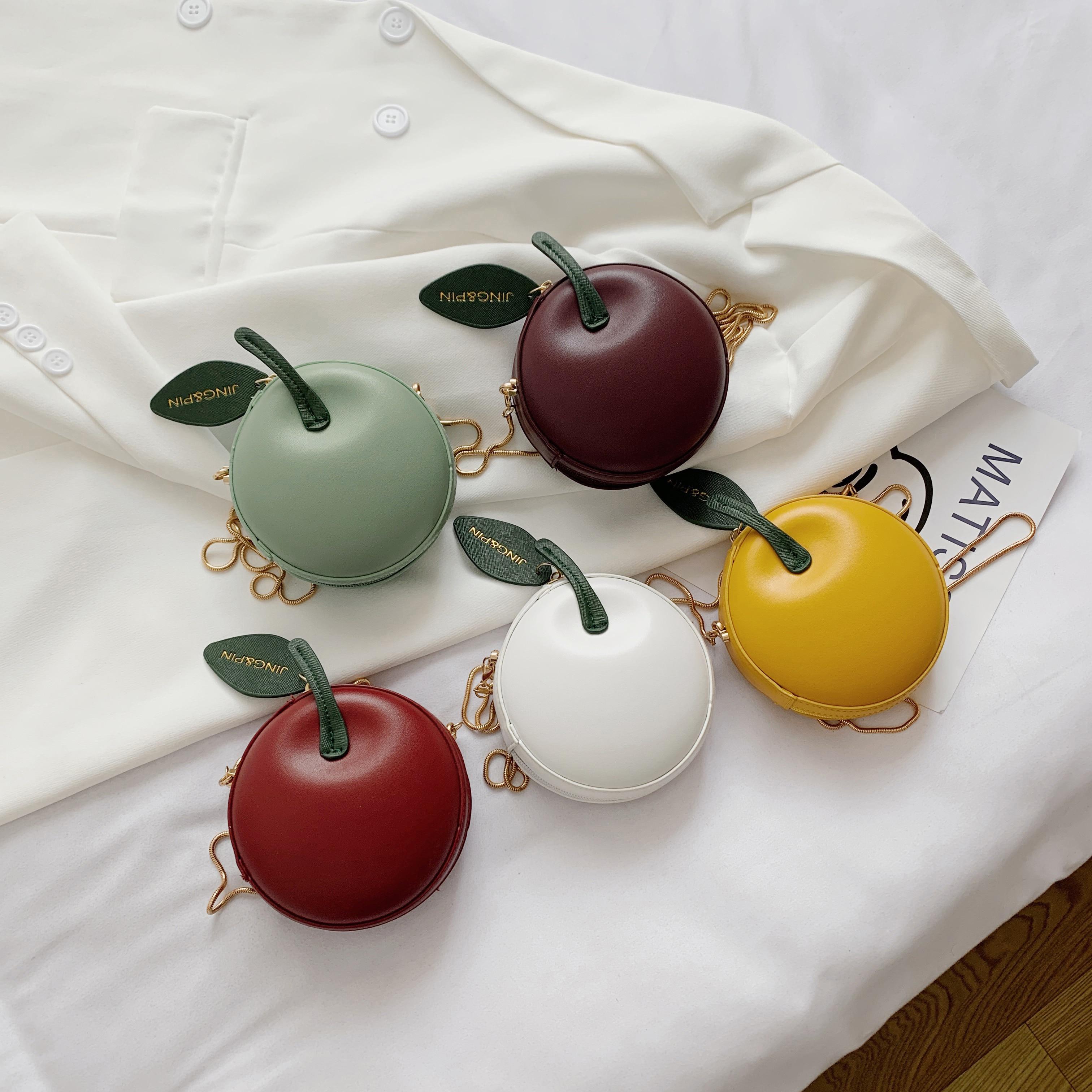 حقيبة صيفية صغيرة على شكل تفاحة بأوراق خضراء ، حقيبة كتف للمراهقين ، حقيبة عملات معدنية