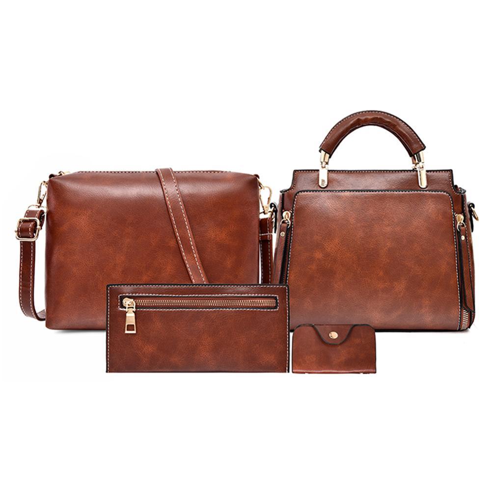 4 unids/set vintage marrón mujer bolsos de cuero de marca de lujo de diseñador bolsos de hombro de alta calidad bolsos bandolera para mujeres bolsos