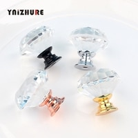 New 12PCS Drawer Handle Glass Crystal Diamond Shape Crystal Glass 30 mm Cabinet Drawer Door Kitchen Handle Black Knobs