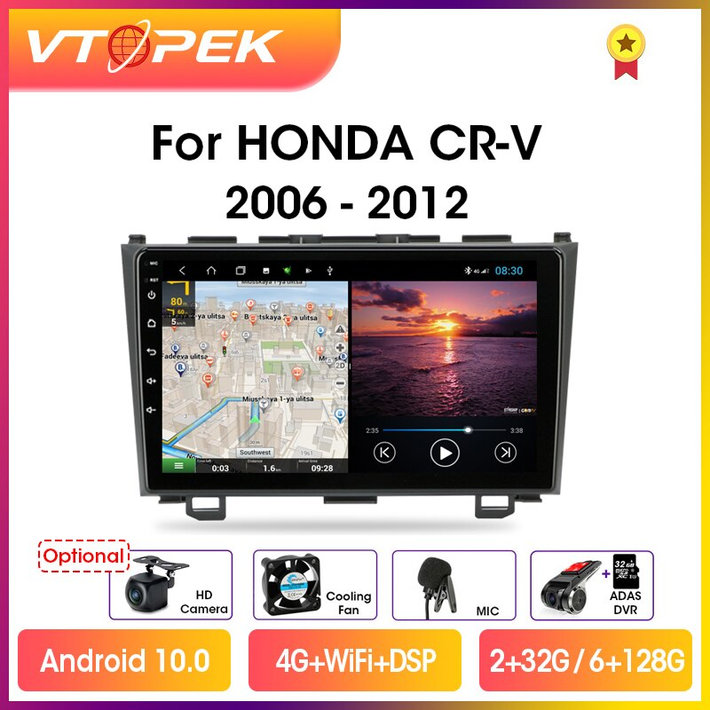 Фото - Vtopek 9 4G+WiFi DSP 2din Android 10.0 Car Radio Multimedia Player Navigation GPS For Honda CRV CR-V 2006-2012 Head Unit 2 din vtopek 9 4g wifi dsp 2din android 10 0 car radio multimedia player navigation gps for honda crv cr v 2006 2012 head unit 2 din
