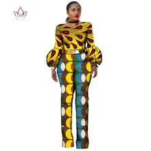 Africain Vêtements pour Femmes Body Barboteuses Salopette Africain Bazin Riche Impression Dashiki Pantalon avec Manches Bouffantes Plus Taille BRW WY2323