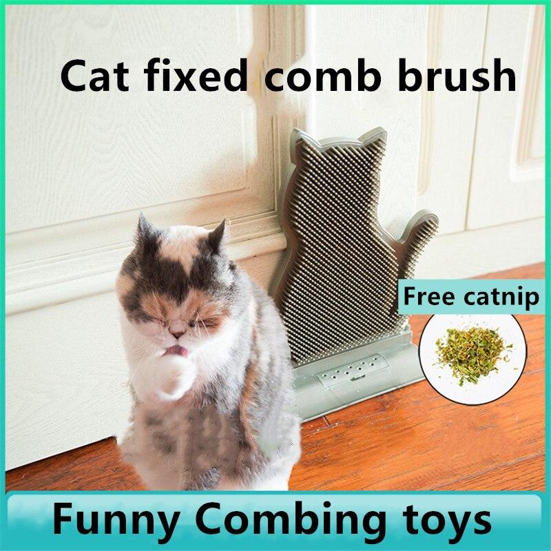 Novo vertical porta fixa costura dispositivo de remoção do cabelo do gato da remoção do cabelo coceira massagem escova gato coceira brinquedo suprimentos para animais estimação