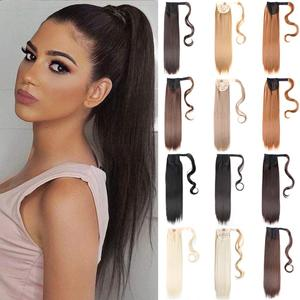 Mtmei Hair Long Straight Wrap Around Clip In Ponytail Hair Extension Heat Resistant Synthetic Pony Tail Fake Hair Natural Wavy
