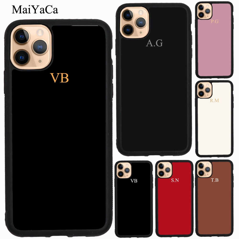 Чехол из ТПУ MaiYaCa Pastel с инициалами для iPhone 11 Pro Max XR X XS Max 5S SE 2020 6S 7 8 Plus