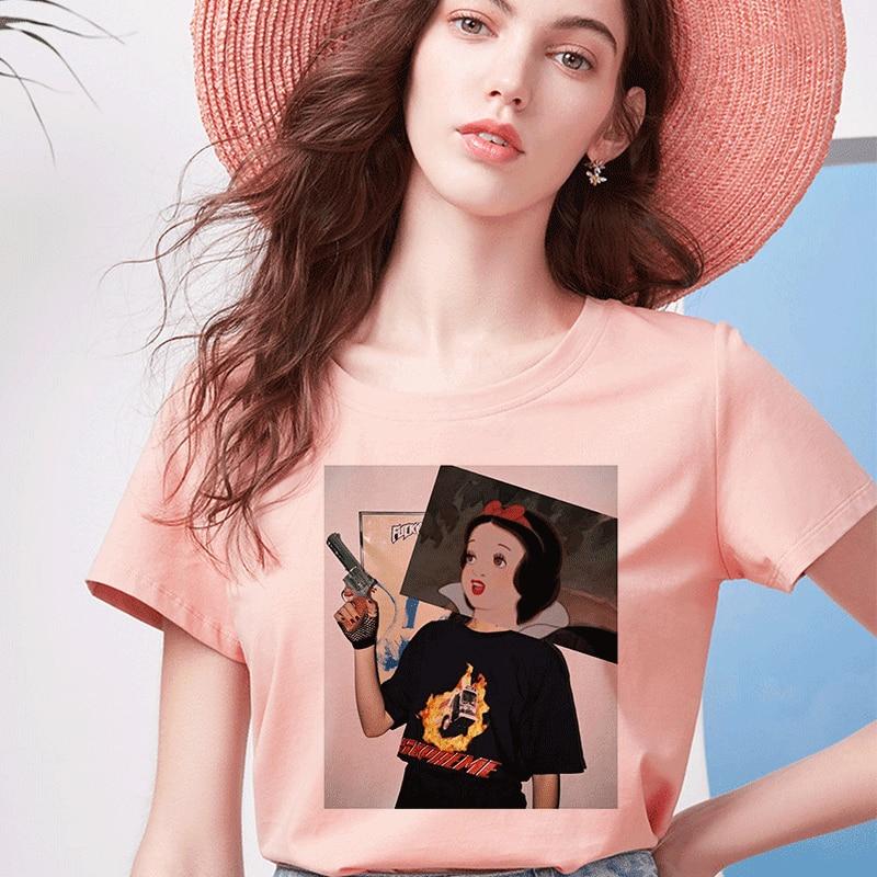 Bad Girl Dark Snow White Print camiseta parodia personalidad Vogue Harajuku Verano Divertido Van Gogh Casual suelto Rosa ropa de mujer