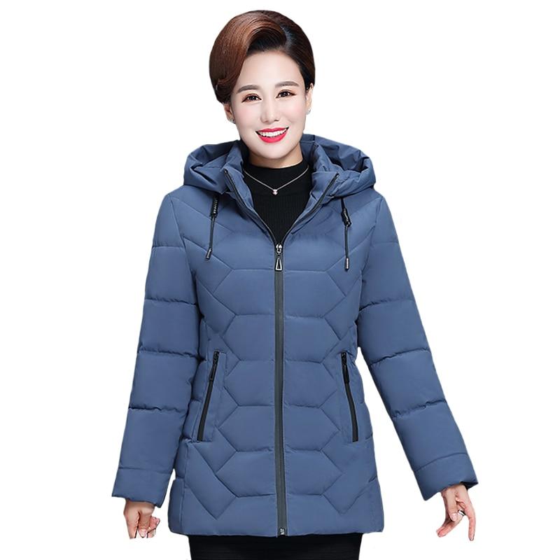 Chaqueta corta de invierno para mujer de talla grande 5XL de mediana edad, abrigo de algodón con capucha 2020, chaqueta gruesa informal de invierno para mujer, Parka para mujer