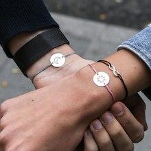 Bracelet à graver personnalisé avec prénom pour femmes, rectangle à graver, avec lettres, en acier inoxydable rouge et noir, à cordon