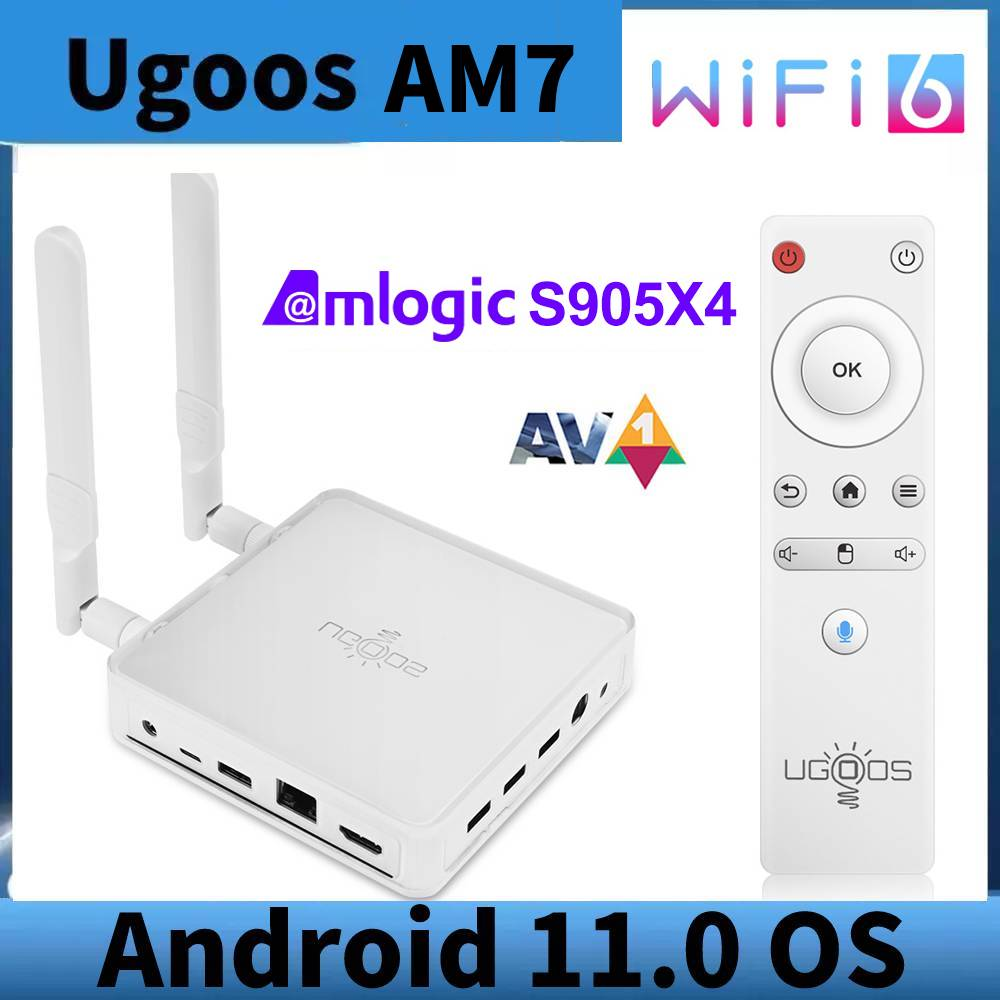UGOOS AM7 Amlogic S905X4 الروبوت 11 مربع التلفزيون الذكية AV1 4GB DDR4 32GB ROM نوع-C WiFi 6 1000M BT5.0 4K HD الروبوت 11.0 مشغل الوسائط