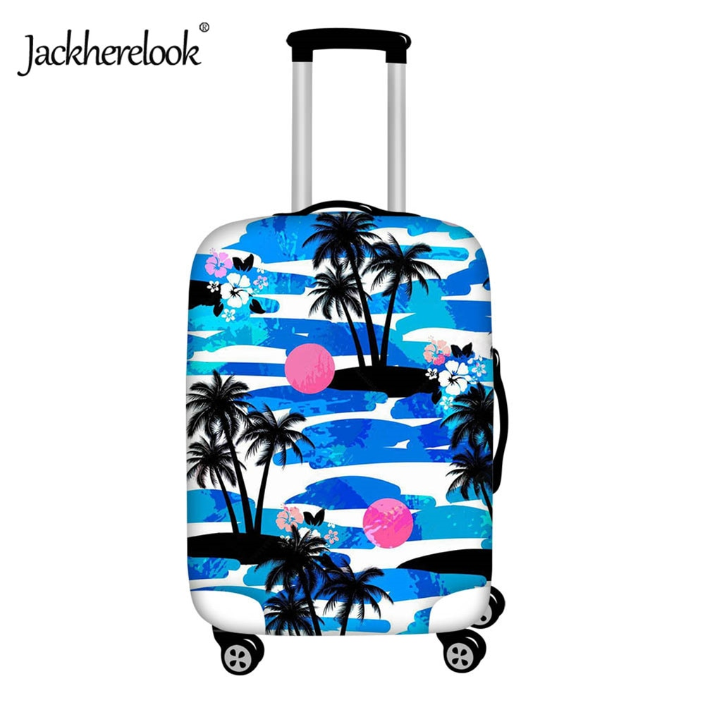 Jackherelook palmera Tropical ola de mar patrón cubierta de carrito cubierta de lluvia 18-28 pulgadas cubierta protectora de equipaje maleta de viaje