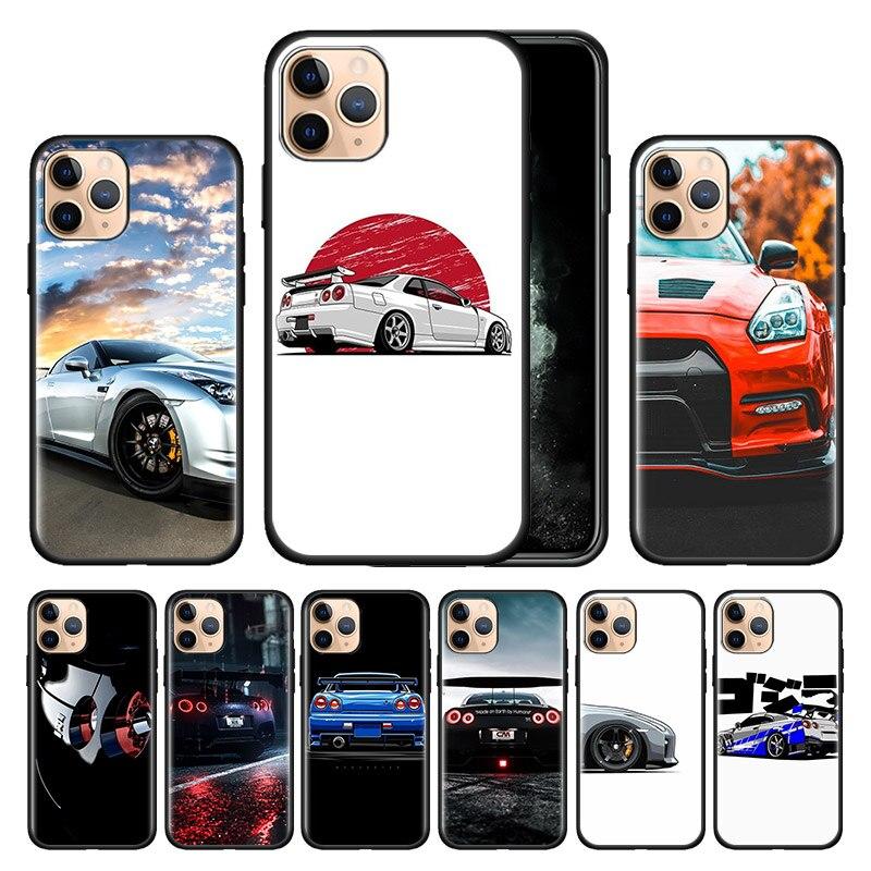 Funda negra de silicona para iPhone 11 Pro MAX XR 7 8 X XS MAX 6S 6 Plus SE 2020 carcasa a prueba de golpes coche Skyline GT-R Japón