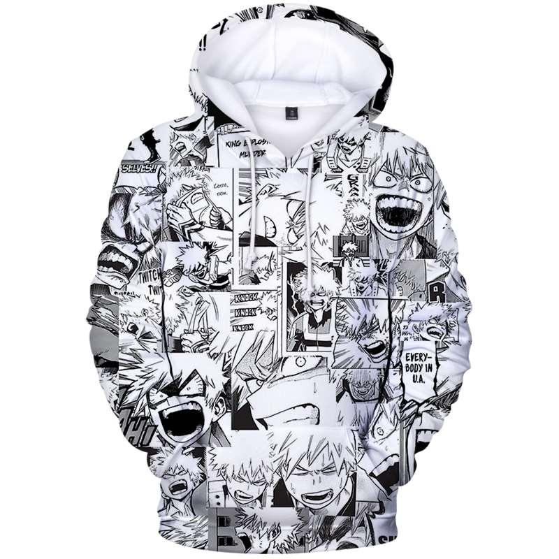 Женские толстовки с капюшоном, с героями из мультфильма «Мой герой академии для мужчин с капюшоном модная зимняя одежда размера плюс кофты ...