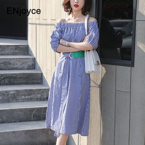Summer Sexy Plaid Strapless One Off the Shoulder Dress for Women Puff Sleeve High Waist Party Ladies Blue Elegant Slim Dresses