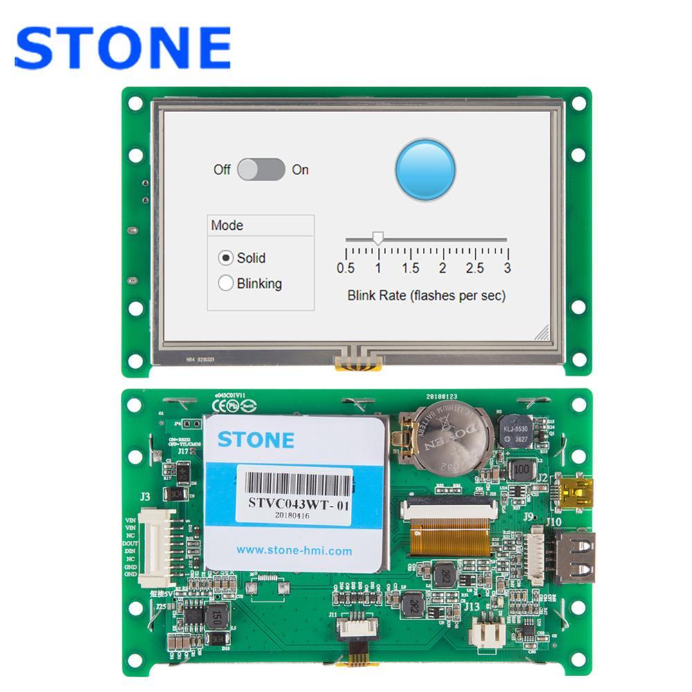 Módulo de pantalla LCD HMI de 4,3 pulgadas LCD integrado con PCB + CPU + controlador + memoria Flash + interfaz UART