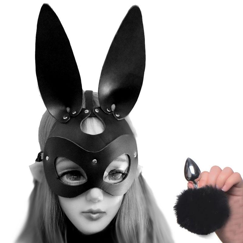 Cola de conejito Anal Plug And Rabbit Headgear Bondage Set cuero recortado Hood, consolador tapón Anal adultos juguetes sexuales disfraz sensual para Cosplay