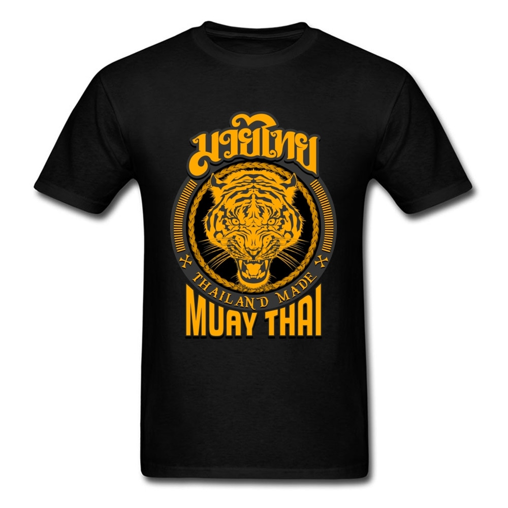 Cool Muay Thai Tiger Tailandia camiseta para hombre Kung Fu camiseta para hombre ropa negra de algodón Tees grupos tapas Hip Hop camiseta letra