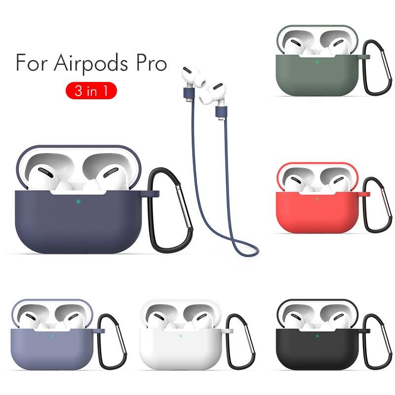 Чехол 3 в 1 защитный чехол для Airpods Pro 3, силиконовый чехол, беспроводной Bluetooth чехол для Airpods Pro 3 с веревочным крючком для защиты от потери чехол