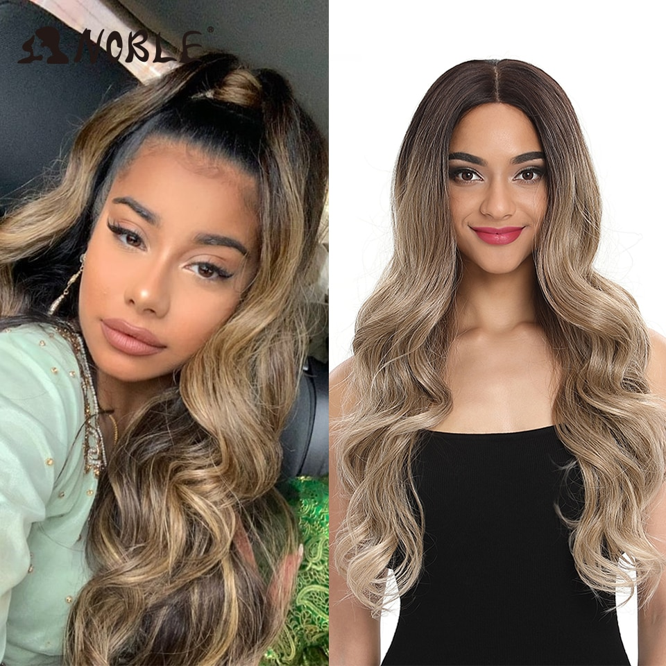 Peluca de pelo Noble con encaje frontal ombre peluca Rubia de 30 pulgadas de encaje largo ondulado 360 peluca Roja africana americana pelucas sintéticas para las mujeres negras