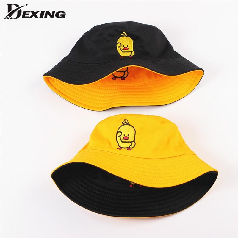 Summer Sun Hat Reversible Duck Bucket Hat for Men Women Cotton Bob Sad Boys Panama Fold Girls Beach Travel Outdoor Fisherman Hat