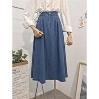 vintage elastic high waist ladies denim skirt new spring summer streetwear big swing saia midi button a line women jeans skirts