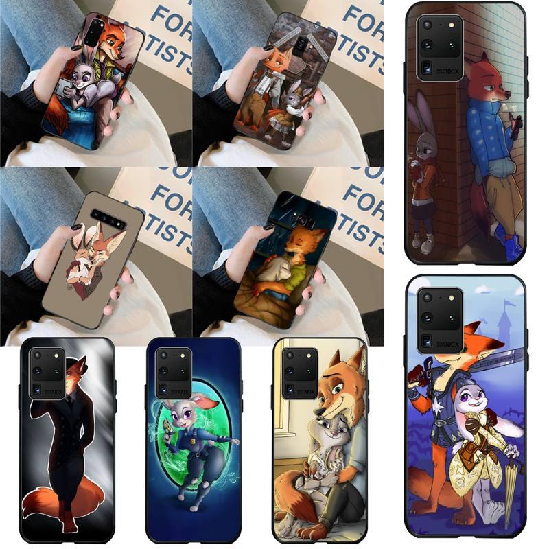 HPCHCJHM Zootopia amante conejo zorro de lujo diseño único de la cubierta del teléfono para Samsung S20 plus Ultra S6 S7 borde S8 S9 más S10 5G