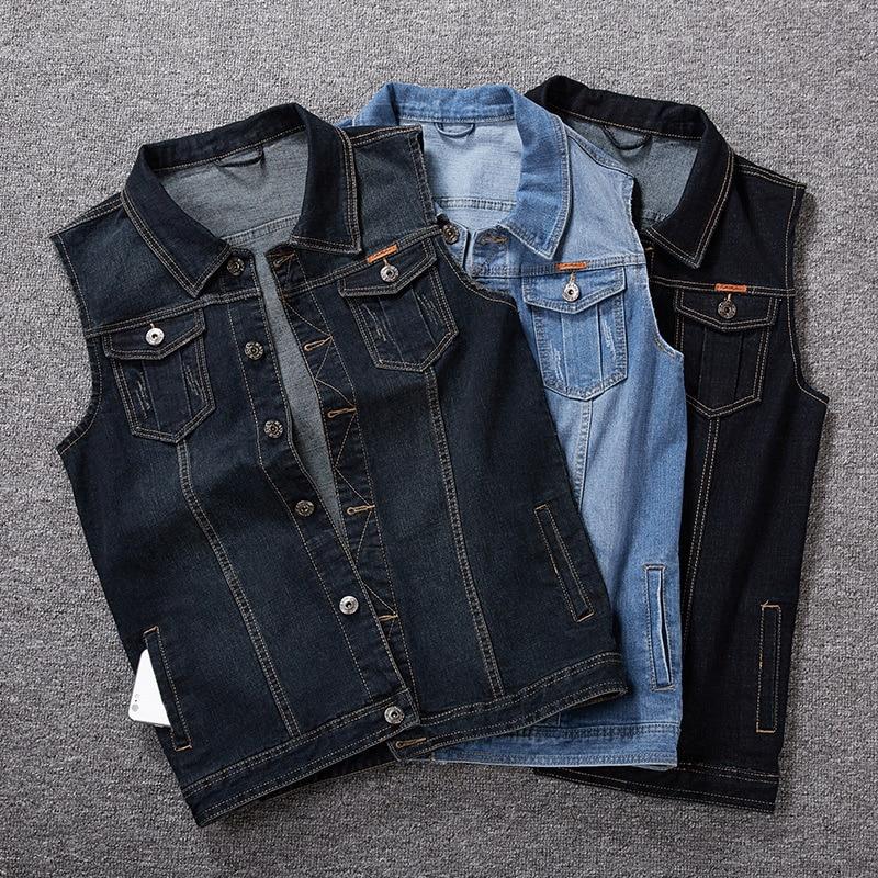 Мужской джинсовый жилет, Мужская Весенняя синяя Корейская приталенная куртка, джинсовый жилет без рукавов большого размера, красивая мода