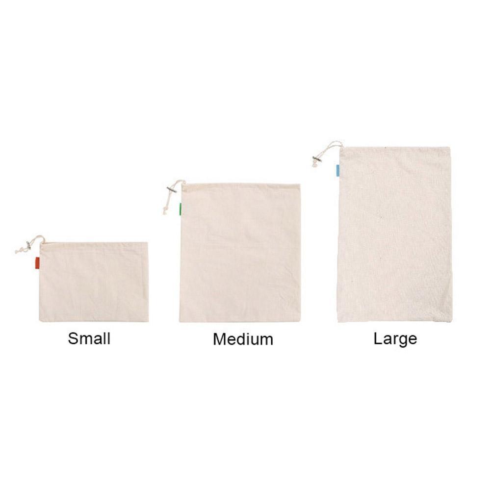 Bolsa reutilizable a granel de algodón con cordón, bolsa de compras de pan de arroz vegetales multiusos con hebilla de Metal