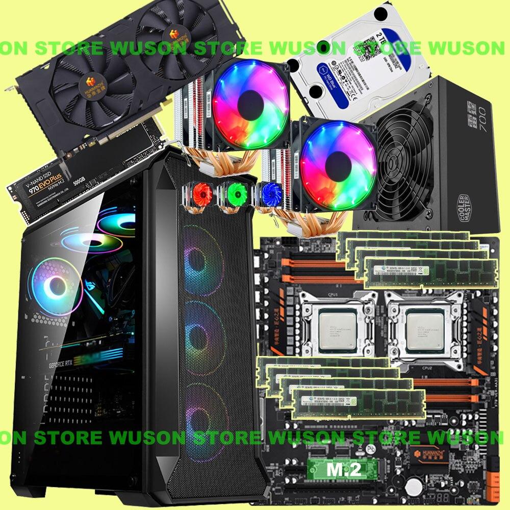 HUANANZHI double X79-8D carte mère 500G NVMe SSD Xeon CPU E5 2680 V2 double refroidisseur RAM 128G(8*16G) 1866 RECC 600W PSU GTX1660 6GD6