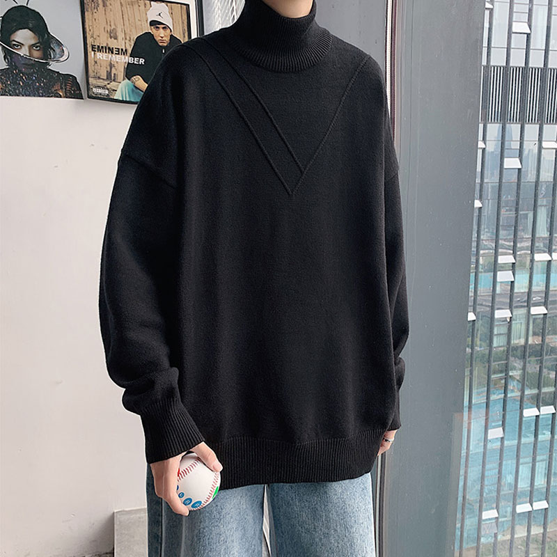 Black sweater men's high collar hong kong style bottoming shirt with velvet autumn and winter youth loose thick sweater