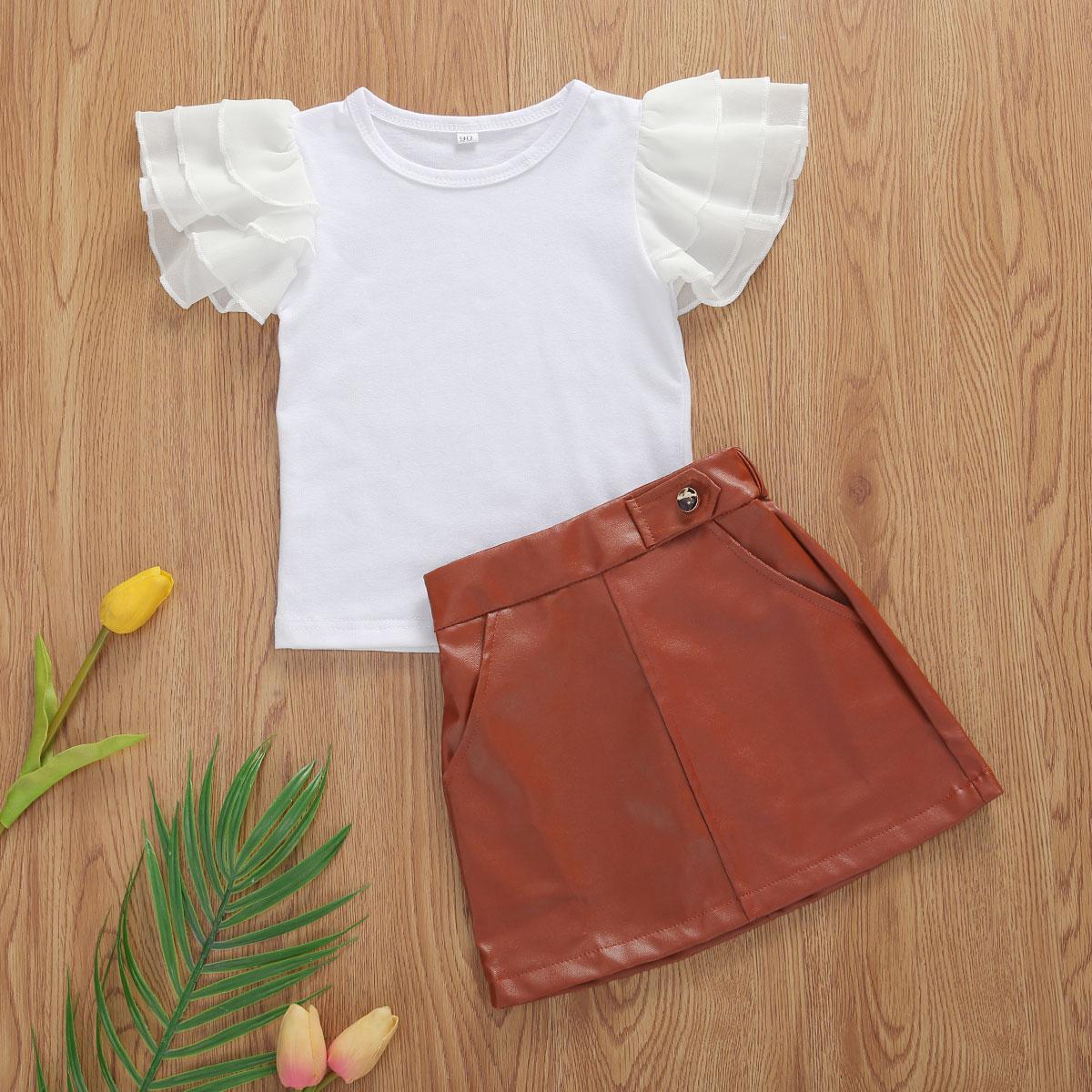Conjunto de ropa para niña pequeña 2 uds de verano, Top de cuello redondo con manga Feifei con volantes + falda de cuero marrón