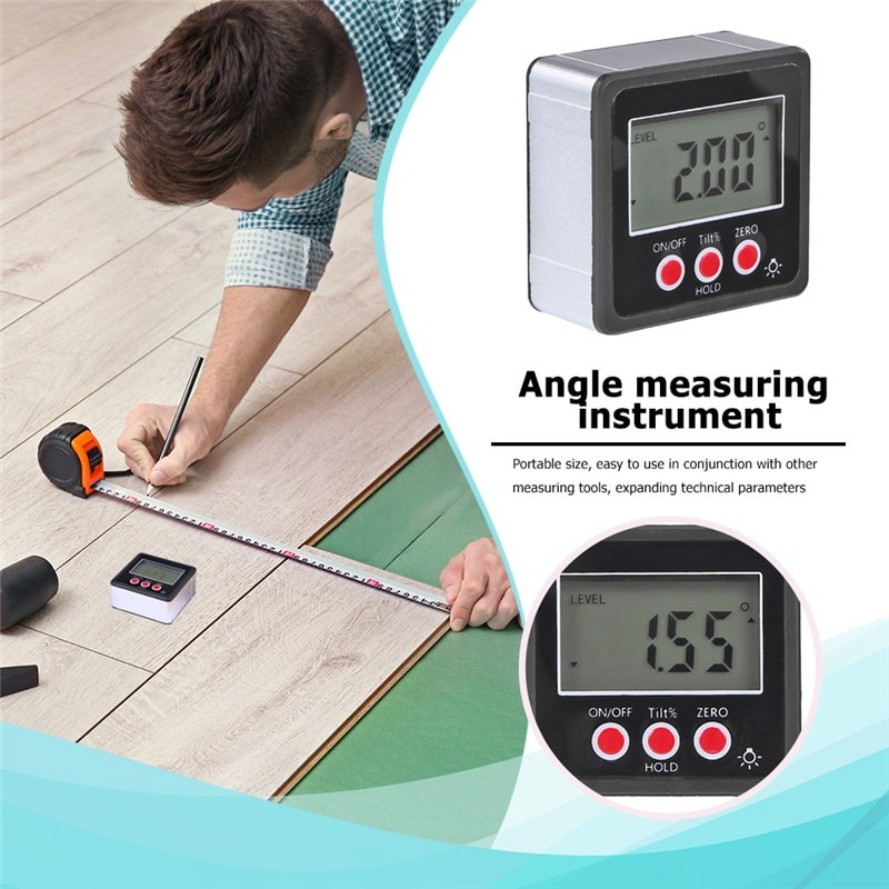 Neoteck Precision Digital Inclinometer Electron Goniometers 360 Degree Magnetic Base Digital Protractor Angle Finder Bevel Box