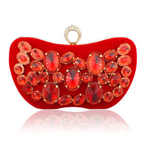 Golden Crystal Women Evening Bag Clutches Diamond Bridal Wedding Box Clutch Ladies Metal Hardcase Party Shoulder Handbags Purses