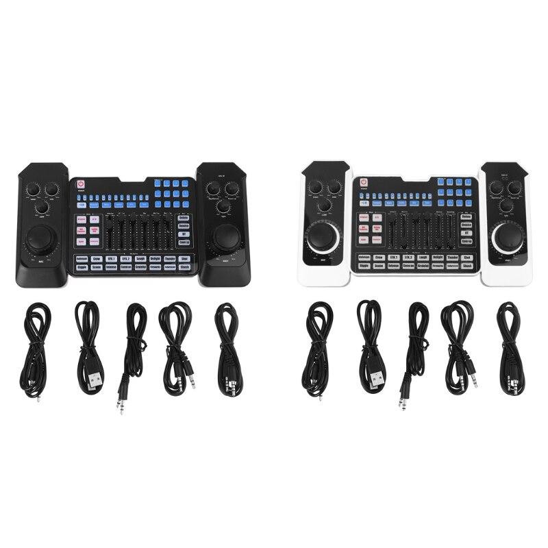 جهاز مزج صوت بلوتوث قابل لإعادة الشحن مع USB ، وميكروفون ، وبطاقة صوت للبث المباشر ، وتسجيل الكاريوكي والغناء
