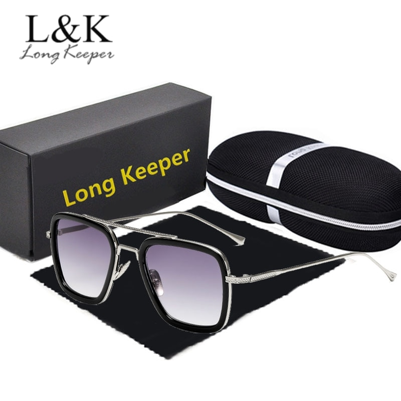 Longkeeper tony stark homem de ferro óculos de sol com caso homem metal quadro punk óculos de mulher piloto condução oculos masculino uv400
