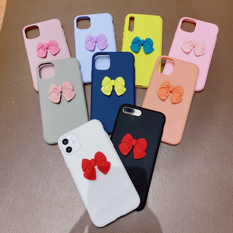Cute 3D Bowknot Silicone Case For Samsung Galaxy S21 S20 S9 S8 Plus S10 Lite S10E S7 Edge S20 Ultra