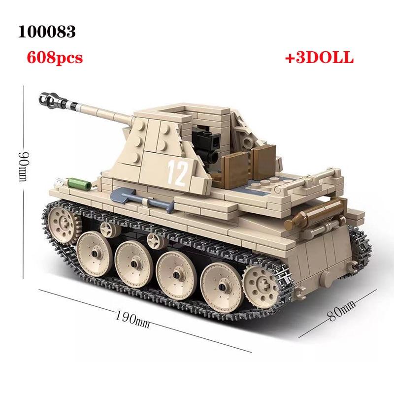 608PCS German Weasel self-anti-tank gun Tank Building Blocks Assemble  WW2 Military Tank Army Soldier Weapon parts Bricks Toys
