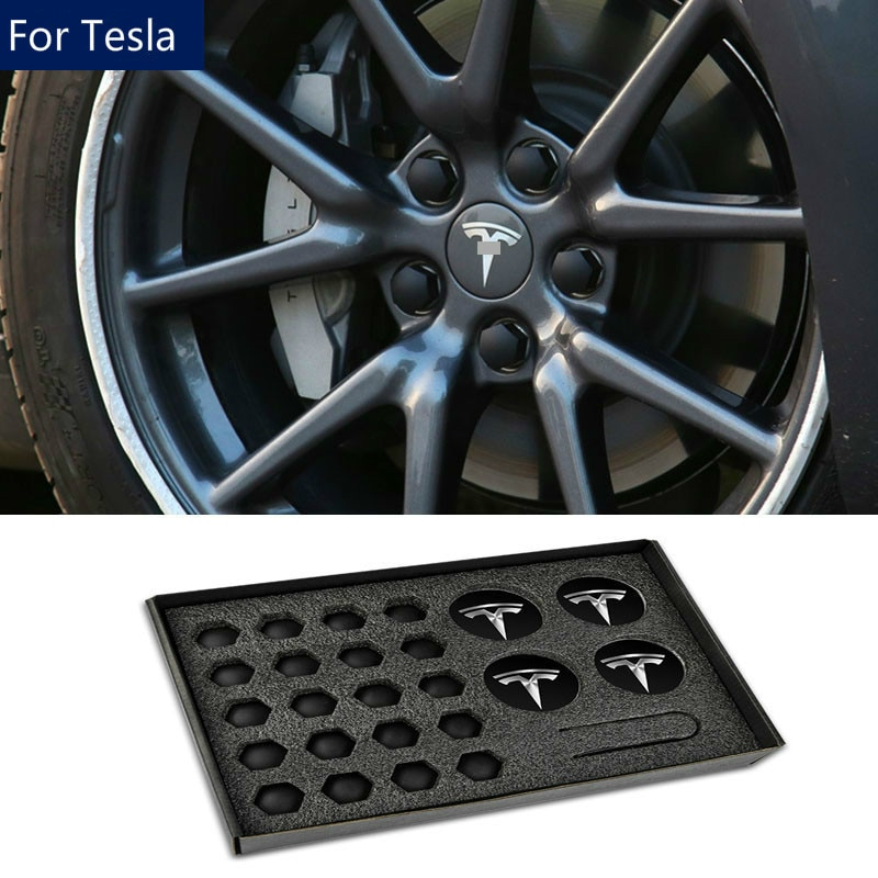 Para Tesla Model 3/S/X tapas de centro de cubo de rueda cubierta de tornillo accesorios de auto modificación, Decoración Accesorios de coche 2017-2020