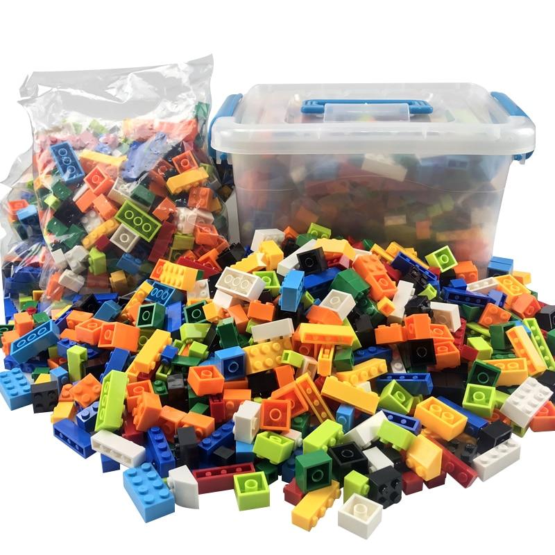 250-1000 Uds bloques de construcción coloridos ladrillos niños bloques creativos juguetes figuras para niños niñas niños regalos de navidad