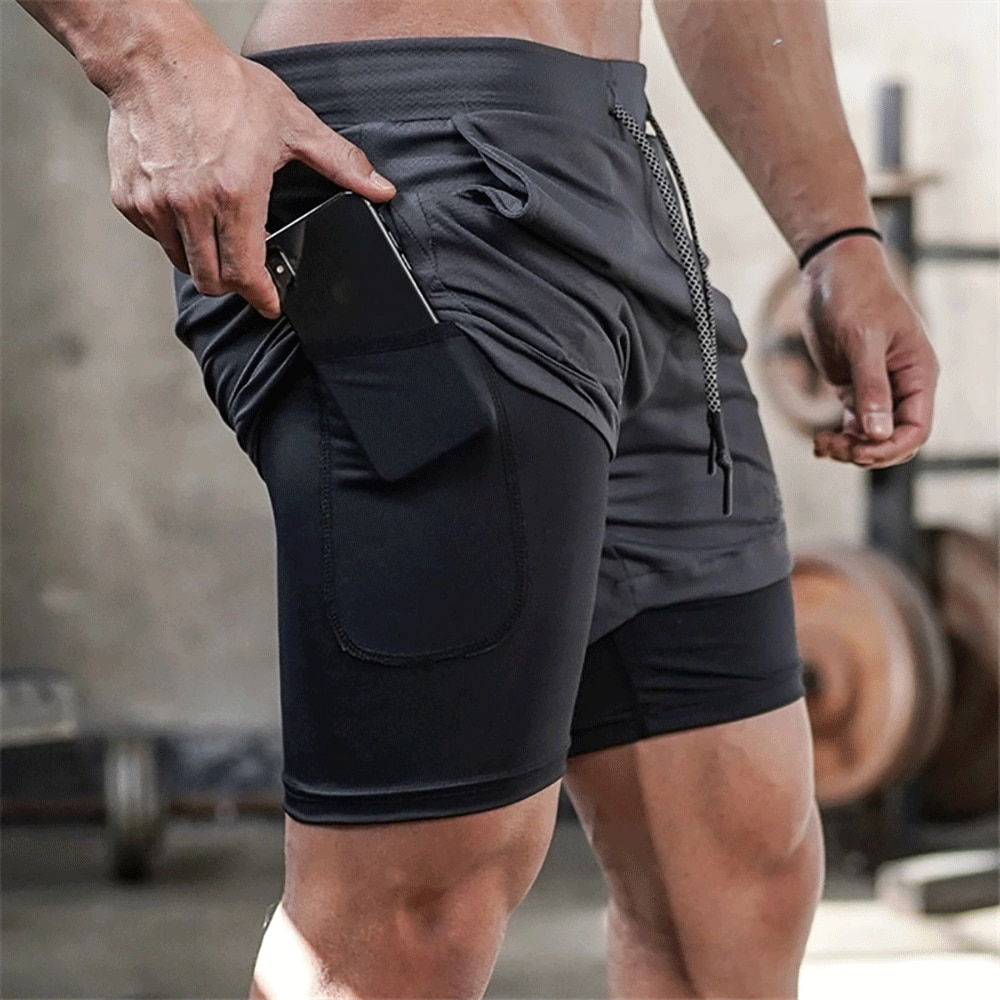 2020 Summer Running Shorts Men 2 in 1 Sports Jogging Fitness Shorts Training Quick Dry Mens Gym Men