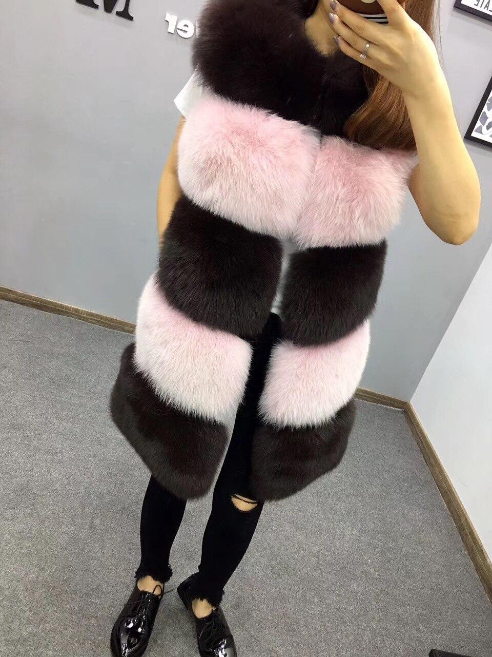 معطف الثعلب-سترة نسائية ، سترة طبيعية ، معطف فرو أصلي طويل