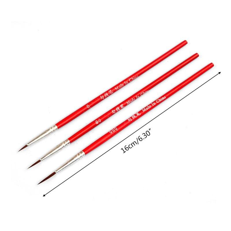 3 uds 0 00 000 Hook Line Pen profesional punta fina pinceles de dibujo para acrílico K1AB