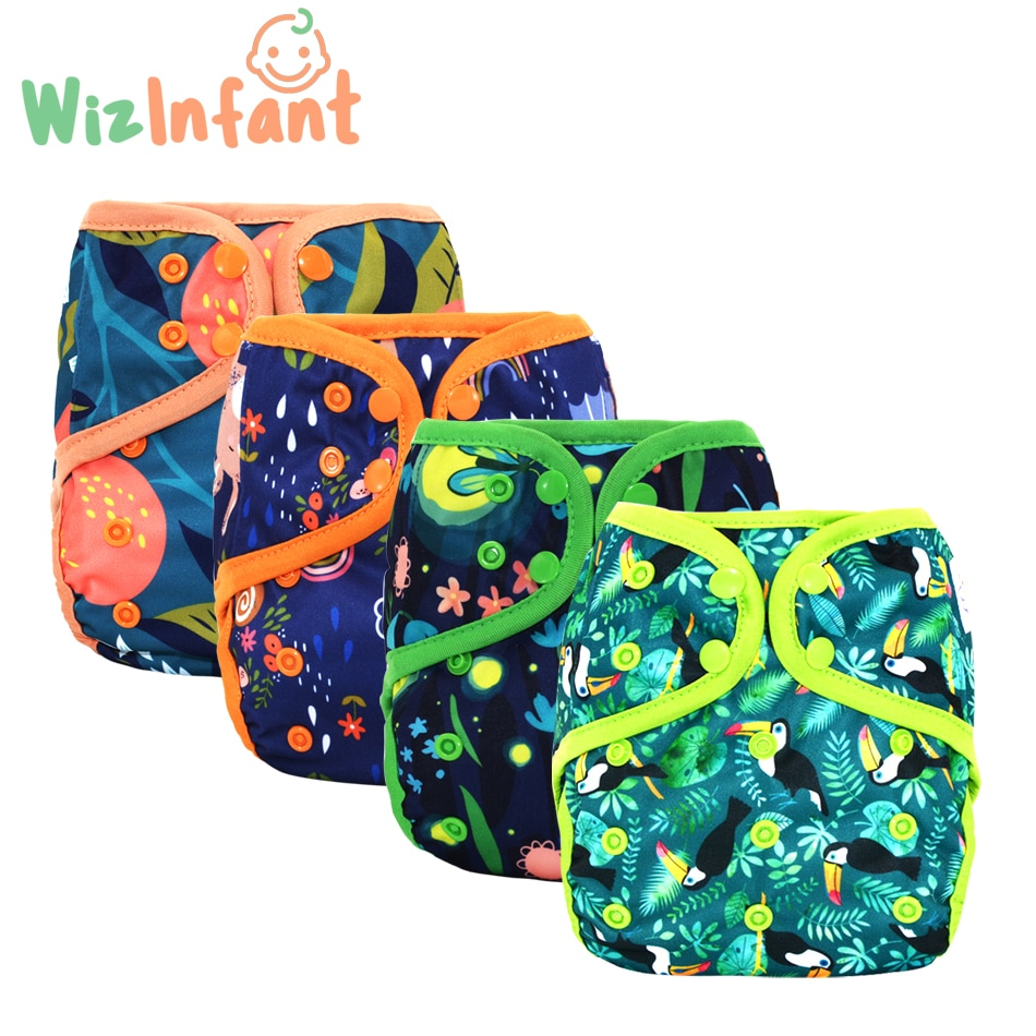 Wizinfant 2pcs/lot OS cloth diaper cover with or without bamboo cotton insert,waterproof breathable S M& L adjustable