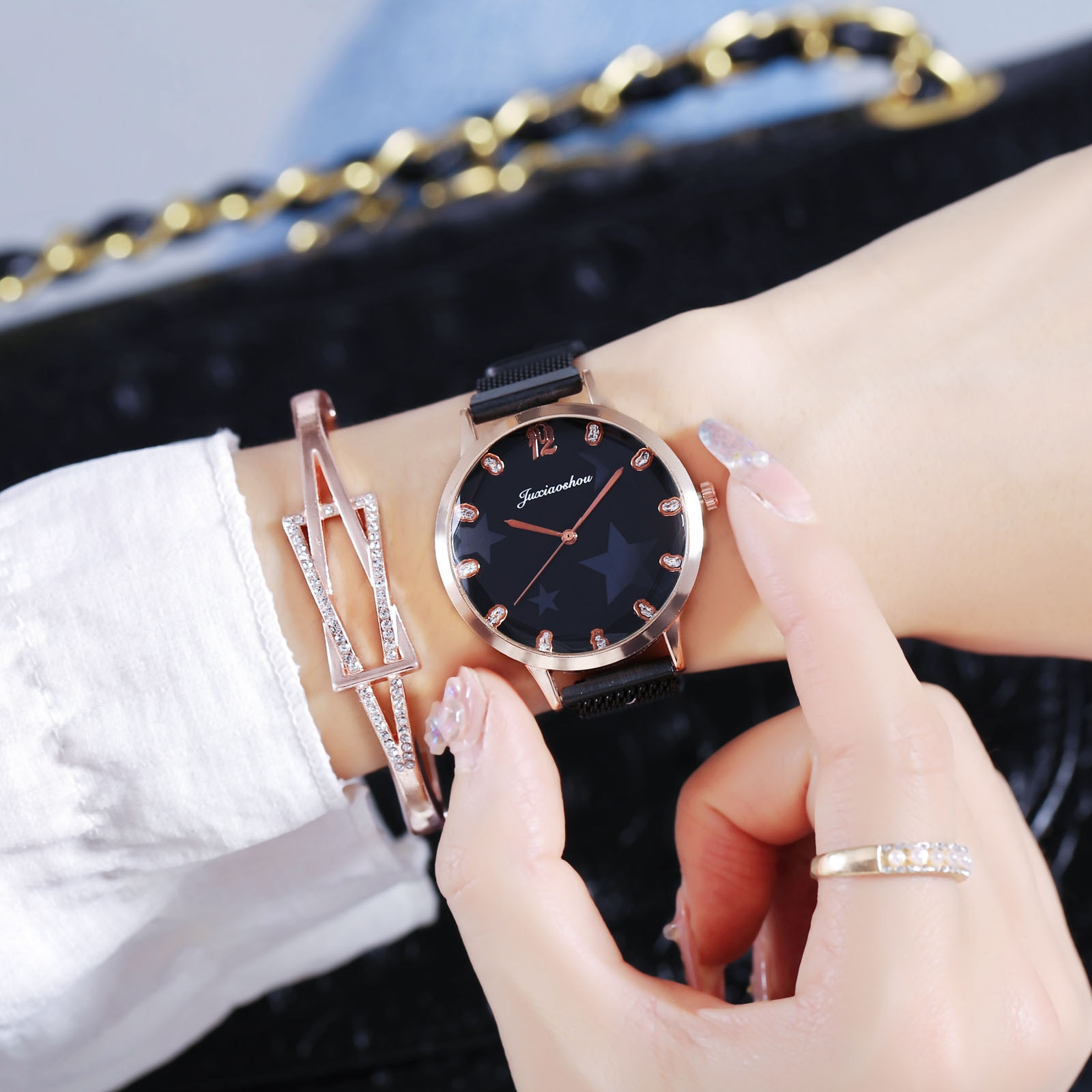 Fashion Quartz Luxury Small Diamond Dial Womens Watch For Girls Gift Watch Stainless Steel Wristband Watches Relojes Para Mujer anke store new womens bracelet watch diamond small dial fashion luxury elegant quartz gold women watches relojes para mujer