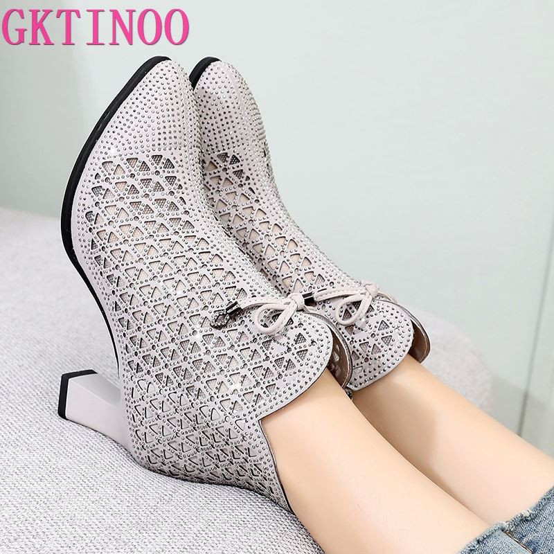 GKTINOO-صندل من الألياف الدقيقة بكعب عالٍ للنساء ، أحذية عصرية أنيقة ، أحجار الراين ، مع فيونكة ، مجموعة صيفية جديدة