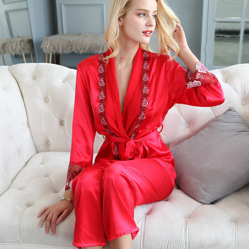 Spring  Autumn Real Silk Pajamas Female Long Sleeve Trousers Red Wedding Noble Home Dress Two Suits Exquisite Women