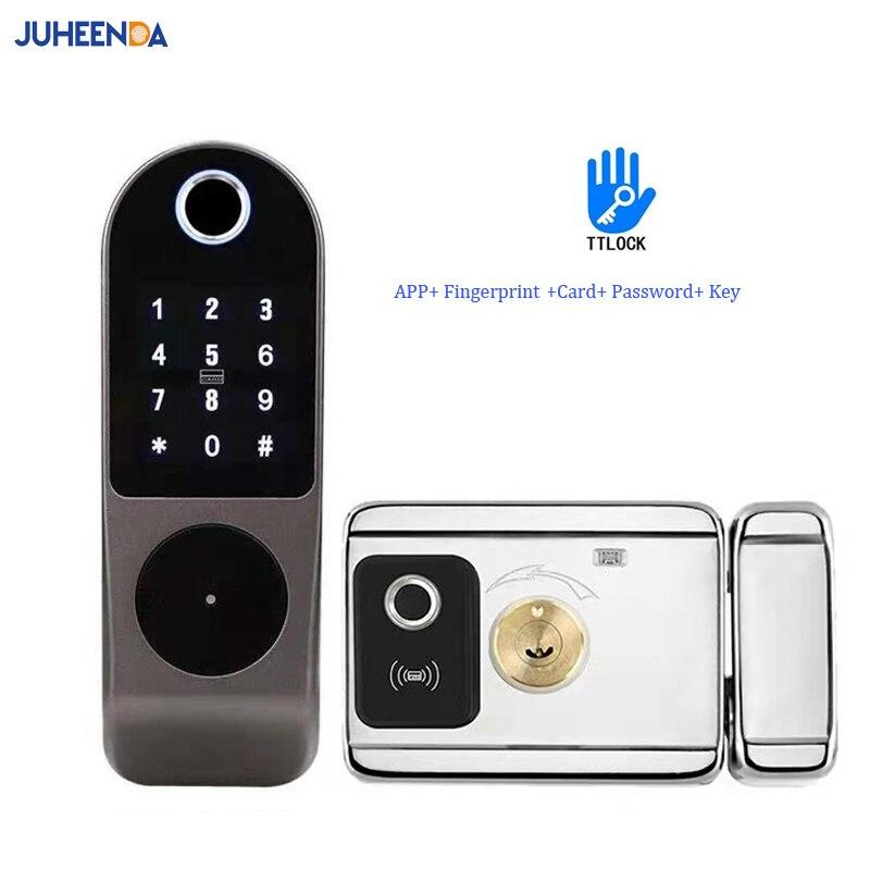 TTLOCK App قفل ذكي مزدوج الجانب قفل ببصمة الأصبع مقاوم للماء الأمن الرئيسية قفل لوحة المفاتيح الرقمية تتفاعل دخول بدون مفتاح الباب Loc