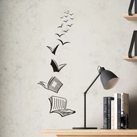 library background wall sticker open book fly birds removable wall sticker study bedroom wall sticker home decoration